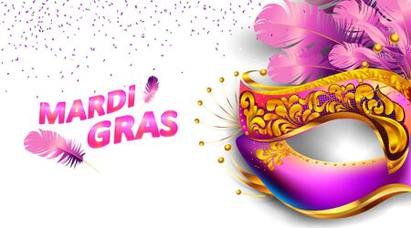 Mardi gras carnival mask poster background with bokeh effect for celebration greeting card, banner, flyer. - Vector