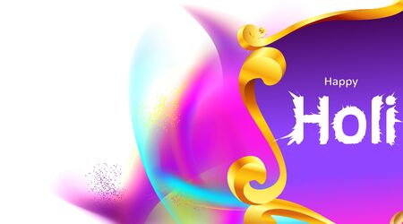 Happy holi festival empty background for card design . Copy spce for text with explosion of powder and traditional carving frame. - Vector Ilustração