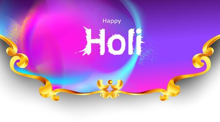 Happy holi festival empty background for card design . Copy spce for text with explosion of powder and traditional carving frame. - Vector Vettoriali