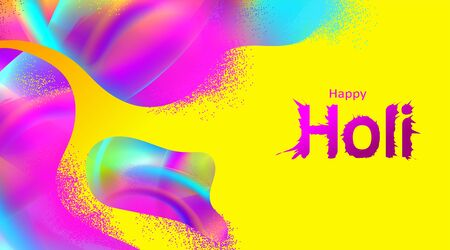 Happy holi color festival with liquid or fluid elements. Color festival with dynamic background. - Vector