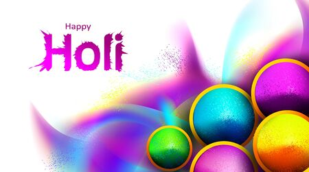 Flat lay holi color festival background with color powder in bowl and explosion effect. - Vector Illustration
