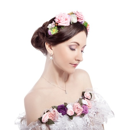 Portrait of young pretty girl bride , floral image