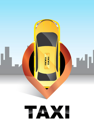 Taxi location.Taxi service concept.Map pointer with taxi symbol