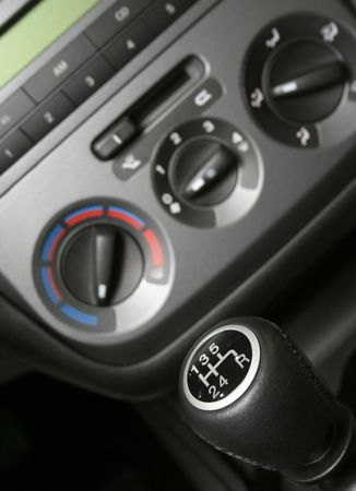 gear handle: Gear handle and part of interior of modern familly car (shalow dept) Stock Photo
