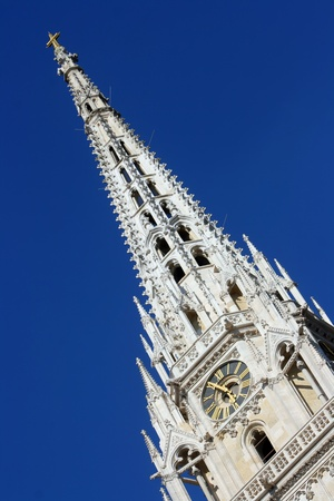 One of two towers of Zagreb  Croatia  cathedral against blue sky