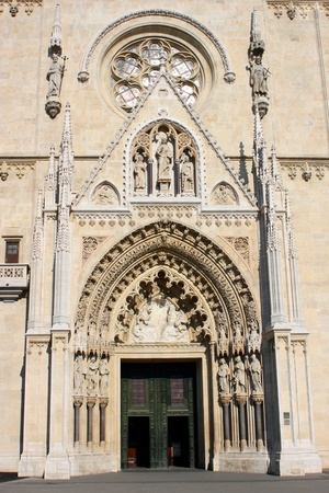 Entrance  archway  of Zagreb  Croatia  main cathedral Stock Photo - 12801148