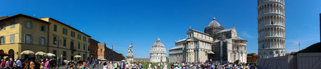 PISA, Italy - JUNE 21, 2017 - Panorama photo of Piazza dei Miracoli in Pisa with lot of turists on June 21, 2017.