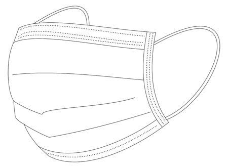 Isolated illustration of green medical mask against Covid19 and other viruses Vektorgrafik
