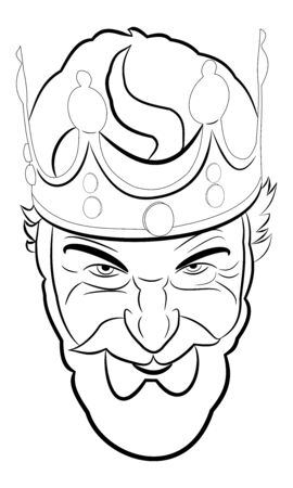 Illustration of very evil king who is smiling vicious and looks at you