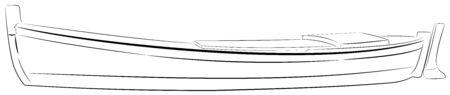Illustration of small fishing boat, traditional way of fishing Ilustrace