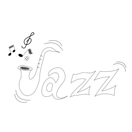 Hand-drawn letters for word jazz for international day of jazz music Иллюстрация