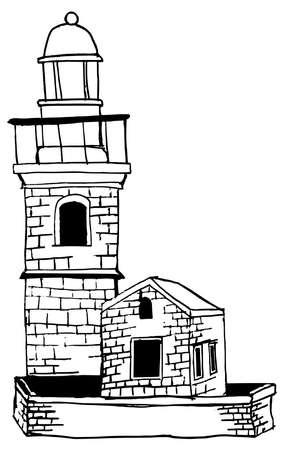 Cartoon of classical old type lighthouse on the coast of Adriatic sea