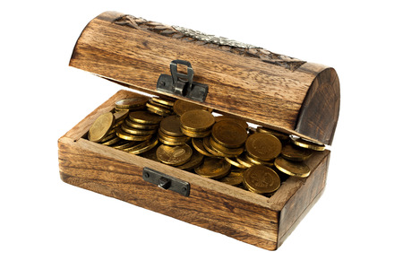 treasure trove: Chest with coins isolated on white background.