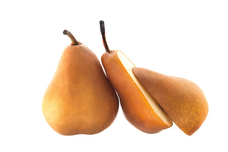 Beurre Bosc pear sliced in halvs isolated on white background.