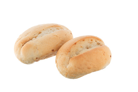 french bread rolls: Two french bread rolls isolated on white background