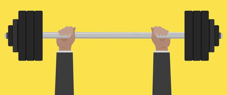 Businessman hand lift barbell weight.Vector hands lifted barbell illustration from hands collection.
