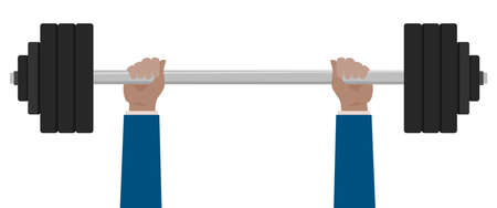 Businessman lifted barbell weight.Vector hands lifted barbell illustration from hands collection.