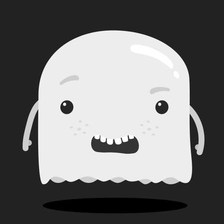 Cute ghost character with sad desperate face.Vector cute ghost cartoon illustration from halloween collection.