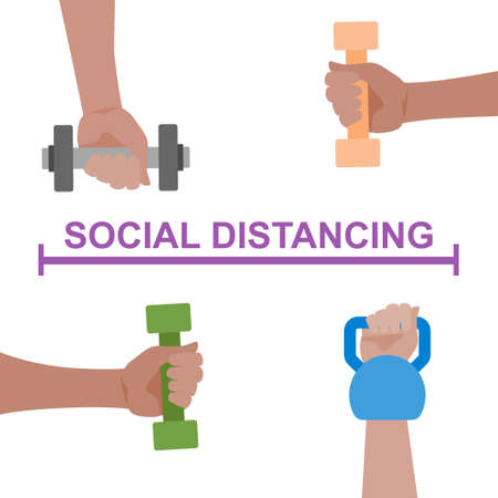 Dumbbell workout with social distance at gym concept.Vector fitness concept illustration from hands collection.