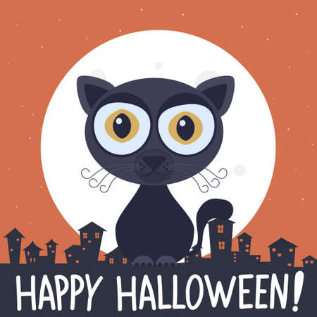 Happy halloween banner with cartoon dark cat.Vector halloween black cat cartoon character illustration from halloween collection.