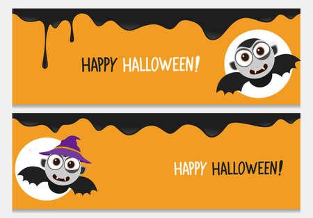 Happy halloween website header set with cartoon bat.Vector happy halloween banners from halloween collection.