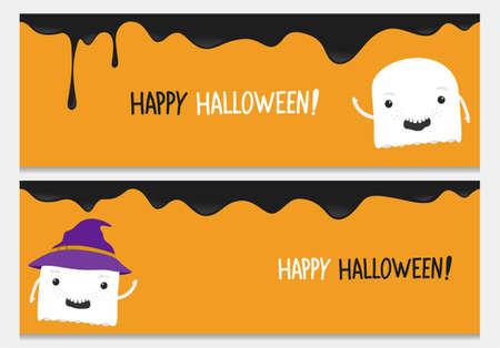 Happy halloween website header set with cartoon ghost character.Vector happy halloween banners from halloween collection.