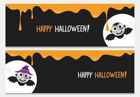 Happy halloween website banner set with cute bat vampire.Vector happy halloween banners from halloween collection.