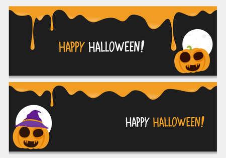 Happy halloween website header set.Vector happy halloween banners from halloween collection. Illustration