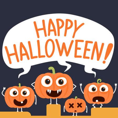 Happy halloween with cartoon pumpkin characters.Vector halloween pumpkin cartoon characters illustration from halloween collection.
