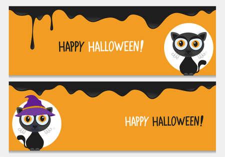 Happy halloween website header set with cute black cat.Vector happy halloween banners from halloween collection.