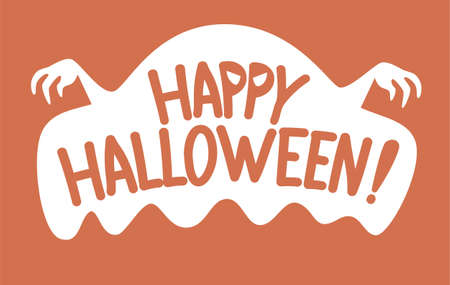 Happy halloween message with ghost concept.Vector happy halloween illustration from halloween collection. Illustration