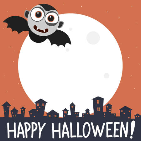 Happy halloween banner with cartoon vampire.Vector cartoon halloween vampire banner illustration from halloween collection. Illustration