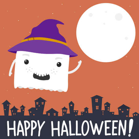 Happy halloween banner with ghost cartoon.Vector cute ghost illustration from halloween collection.