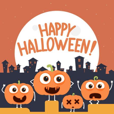 Happy halloween design with cartoon pumpkin characters.Vector halloween pumpkin cartoon characters illustration from halloween collection.