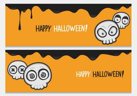 Happy halloween website header set with cartoon skulls.Vector happy halloween banners from halloween collection.