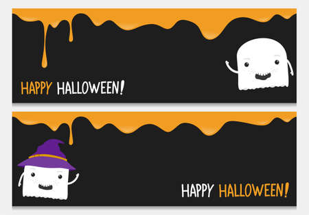 Happy halloween website banner set with cute ghost.Vector happy halloween banners from halloween collection. Illustration
