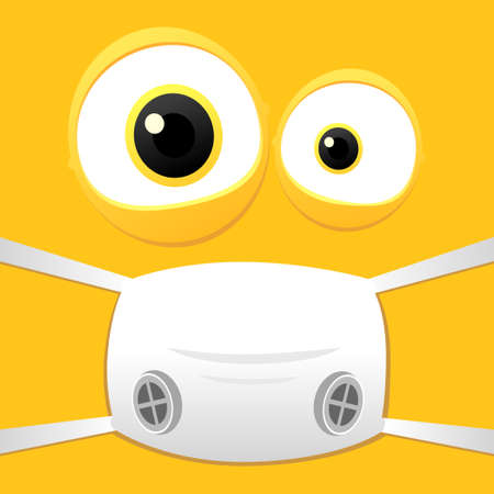 Pandemic funny face concept.Vector yellow funny face with medical face mask illustration.