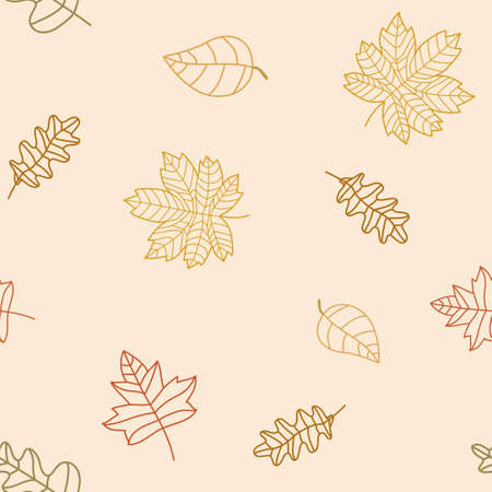 Vector line art autumn leaf seamless pattern.