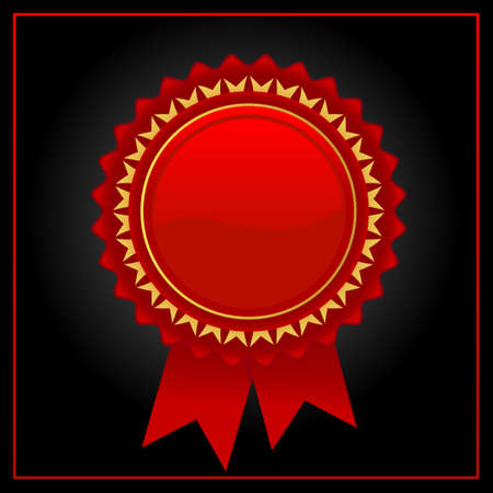 Vector red award badge with glossy design.Glossy red starburst illustration.