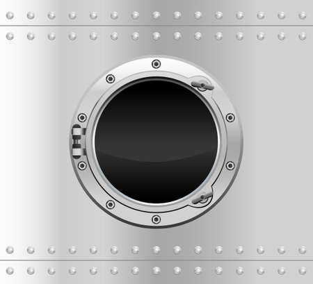 Metallic round porthole with screws.Vector illustration of realistic metallic porthole window. Vector Illustratie