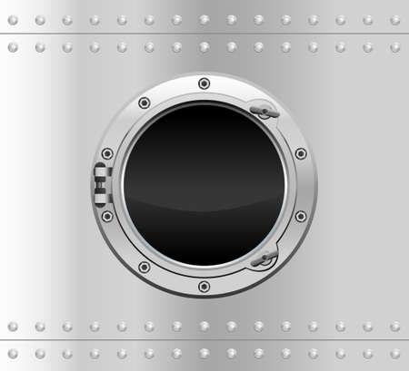 Metallic round porthole with screws.Vector illustration of realistic metallic porthole window.