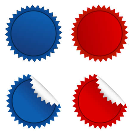 Campaign badges collection.Vector illustration of red and blue starbursts set. Illustration