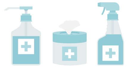 Vector medical disinfection equipment for hand hygiene bottle illustration. Illustration