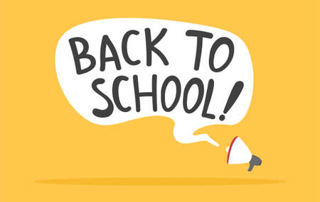 Megaphone with back to school message background.Vector back to school message illustration from message background collection.