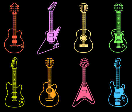 Line art guitar icons collection with neon style.Vector illustration of guitar icons with neon colors.