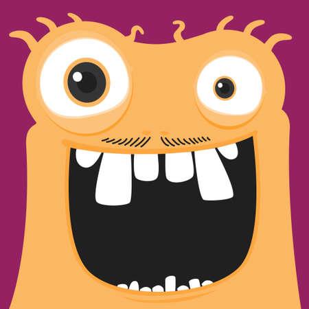 Orange funky monster character.Vector happy monster illustration from funky monster characters collection.