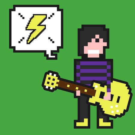 Punk guitarist with pixel art.Vector pixel art guitarist illustration from pixel art collection. Illustration