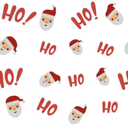 Santa cartoon with hohoho phrase pattern.Vector illustration of seamless christmas pattern background.