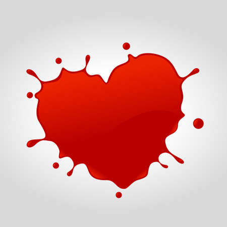 Red heart shape vector splash.Vector illustration of splash with love concept. Illustration
