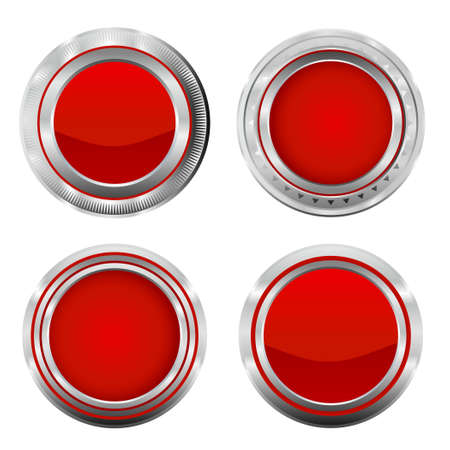 Metallic red buttons. Vector illustration of realistic metallic badge button collection. Illustration